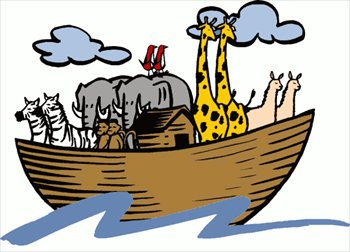 a cartoon Noah's Ark with different pairs of animals