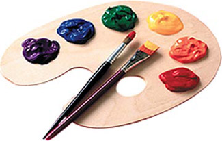 shows an artists palette with paint and brush