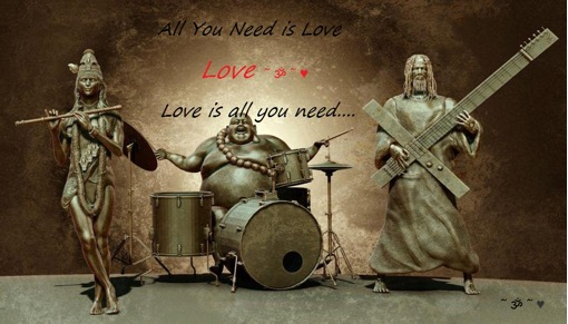 "the picture shows krishna playing flute, a very plump buddha playing drums, and jesus playing a guitar in the shape of a cross, and the caption says ""all you need is Love"""