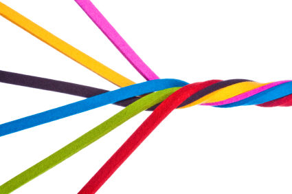 coloured strands are combined to form a rope