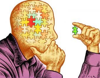 a jigsaw head looks at an extra piece of jigsaw and wonders where it can go