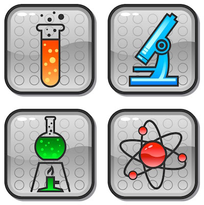 the image shows four blocks with designer science stuff - microscope, coloured liquid, atom
