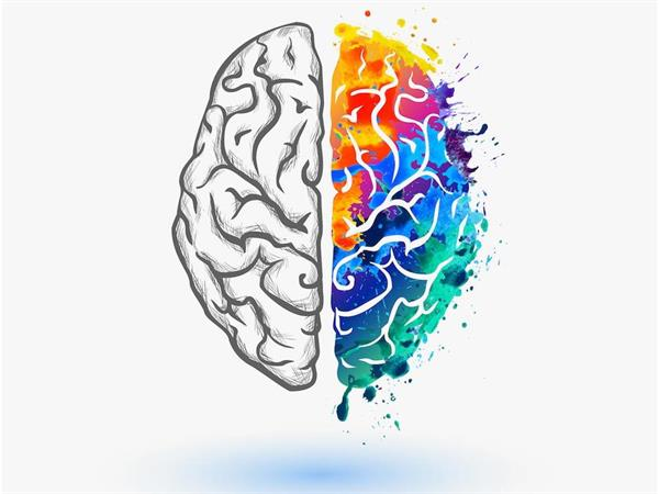 shows a brain - half multicoloured, the other black and white
