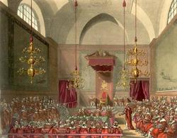 old painting of the UK House of Lords