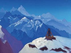 a yogi sits cross-legged on top of a snow covered Himalayan mountain