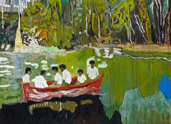 Painting of people in a boat on a river in the jungle, by Peter Doig