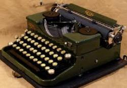 shows an old manual typewriter