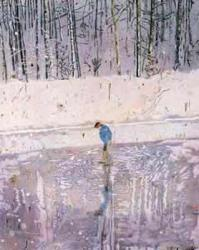 man on a frozen lake, by Peter Doig