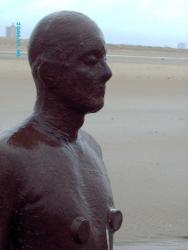 figure on Crosby Beach by Antony Gormley